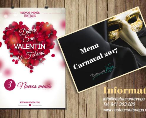 Nuevos menús para San Valentin yCarnavales